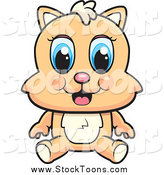 Stock Cartoon of a Cute Blue Eyed Beige Kitten Sitting by Cory Thoman