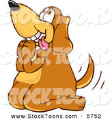 Stock Cartoon of a Cute Brown Dog Mascot Cartoon Character Begging for a Walk or Treats by Toons4Biz