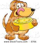 Stock Cartoon of a Cute Brown Dog Mascot Cartoon Character Holding a Food Dish, Waiting to Be Fed by Toons4Biz