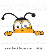 Stock Cartoon of a Cute Bumblebee Mascot Cartoon Character Peeking over a Horizontal Surface by Toons4Biz