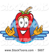 Stock Cartoon of a Cute Chili Pepper Mascot Cartoon Character Logo by Toons4Biz