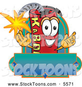 Stock Cartoon of a Cute Dynamite Mascot Cartoon Character with a Blank Label by Toons4Biz