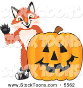 Stock Cartoon of a Cute Fox Mascot Cartoon Character with a Halloween Pumpkin by Toons4Biz