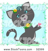 Stock Cartoon of a Cute Gray Cat with Flowers and a Heart over Blue with Vines by