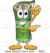 Stock Cartoon of a Cute Green Carpet Mascot Cartoon Character Waving and Pointing by Toons4Biz