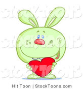 Stock Cartoon of a Cute Green Rabbit by Hit Toon