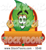 Stock Cartoon of a Cute Leaf Mascot Cartoon Character with a Red and Orange Label by Toons4Biz