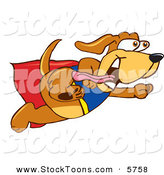 Stock Cartoon of a Cute Panting Brown Dog Mascot Cartoon Character Dressed As a Super Hero, Flying by Toons4Biz