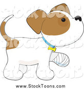 Stock Cartoon of a Cute Puppy Dog with a Bandaged Paw by Maria Bell