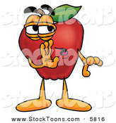 Stock Cartoon of a Cute Red Apple Character Mascot Whispering Secrets by Toons4Biz