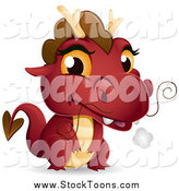 Stock Cartoon of a Cute Red Baby Dragon with Smoke by BNP Design Studio