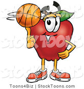 Stock Cartoon of a Cute Sporty Red Apple Character Mascot Spinning a Basketball on His Finger by Toons4Biz