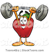 Stock Cartoon of a Cute Strong Red Apple Character Mascot Holding a Heavy Barbell Above His Head by Toons4Biz