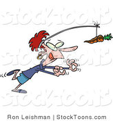 Stock Cartoon of a Dieting Woman Chasing a Chocolate Covered Carrot by Ron Leishman