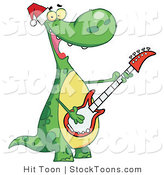 Stock Cartoon of a Dinosaur Wearing a Santa Hat by Hit Toon