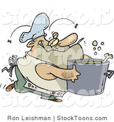 Stock Cartoon of a Dirty Chubby and Stinky Male Chef by Ron Leishman