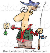 Stock Cartoon of a Disappointed Fisherman by Ron Leishman