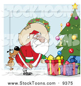 Stock Cartoon of a Dog Biting a Black Santa's Butt by a Christmas Tree over Blue by Hit Toon