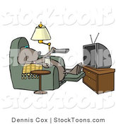 Stock Cartoon of a Dog Sitting in a Recliner with a Beer, Watching TV by Djart