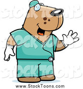 Stock Cartoon of a Dog Surgeon in Scrubs by Cory Thoman