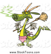 Stock Cartoon of a Dragon Holding a Broom by Toonaday