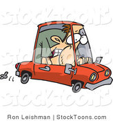 Stock Cartoon of a Driver Squished in a Compact Car by Ron Leishman