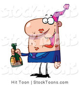 Stock Cartoon of a Drunk Caucasian Man by Hit Toon