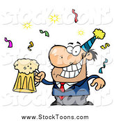 Stock Cartoon of a Drunk New Years Party Man Holding Beer by Hit Toon