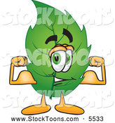 Stock Cartoon of a Eco Friendly Leaf Mascot Cartoon Character Flexing His Strong Arm Muscles by Toons4Biz