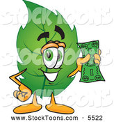 Stock Cartoon of a Eco Friendly Leaf Mascot Cartoon Character Holding a Dollar Bill by Toons4Biz