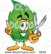 Stock Cartoon of a Eco Friendly Leaf Mascot Cartoon Character Holding a Pair of Scissors by Toons4Biz