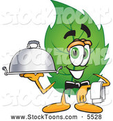 Stock Cartoon of a Eco Friendly Leaf Mascot Cartoon Character Holding a Serving Platter by Toons4Biz
