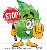 Stock Cartoon of a Eco Friendly Leaf Mascot Cartoon Character Holding a Stop Sign by Toons4Biz
