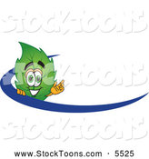 Stock Cartoon of a Eco Friendly Leaf Mascot Cartoon Character Logo with a Blue Dash by Toons4Biz