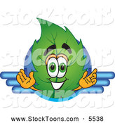 Stock Cartoon of a Eco Friendly Leaf Mascot Cartoon Character Logo with Blue Lines by Toons4Biz