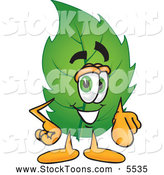 Stock Cartoon of a Eco Friendly Leaf Mascot Cartoon Character Pointing at the Viewer by Toons4Biz