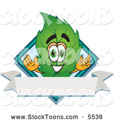 Stock Cartoon of a Eco Friendly Leaf Mascot Cartoon Character with a Diamond and Blank Ribbon Label by Toons4Biz
