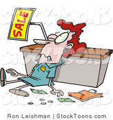 Stock Cartoon of a Employee Trampled During a Sale by Toonaday