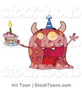 Stock Cartoon of a Excited Birthday Monster by Hit Toon