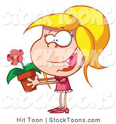 Stock Cartoon of a Excited Blond Caucasian Girl by Hit Toon