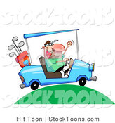 Stock Cartoon of a Excited Man Driving a Blue Golf Cart by Hit Toon