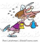 Stock Cartoon of a Exhausted Female Marathon Runner by Ron Leishman