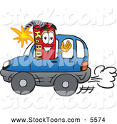 Stock Cartoon of a Explosive Dynamite Mascot Cartoon Character Driving a Blue Car by Toons4Biz
