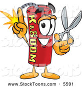 August 25th, 2013: Stock Cartoon of a Explosive Dynamite Mascot Cartoon Character Holding Scissors by Toons4Biz