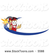 Stock Cartoon of a Explosive Dynamite Mascot Cartoon Character Logo with a Blue Dash by Toons4Biz