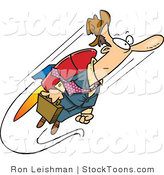 Stock Cartoon of a Fast Business Man Flying with a Jet Pack by Ron Leishman