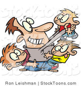 Stock Cartoon of a Father Horse Playing with His Kids by Ron Leishman