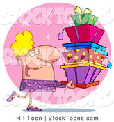 Stock Cartoon of a Female Christmas Shopper by Hit Toon