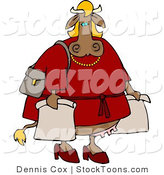 Stock Cartoon of a Female Cow Shopping by Djart