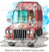 Stock Cartoon of a Female Truck Driver by Dennis Cox
